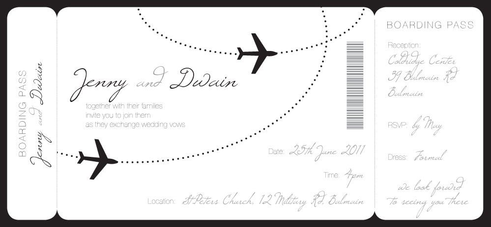 Pretty Boarding Pass Wedding Invitati