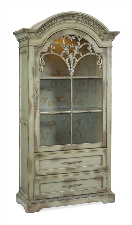 Seven Seas Hand Painted Bonnet Top Curio Cabinet W Mullion Door
