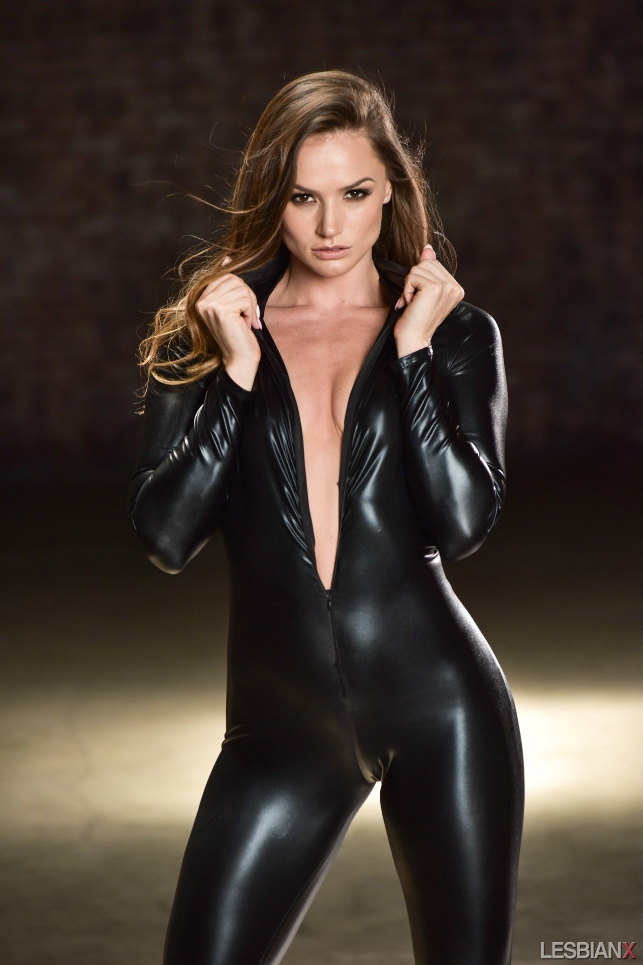 Wet Look Catsuit  Leather  Leather, Black Catsuit -5227