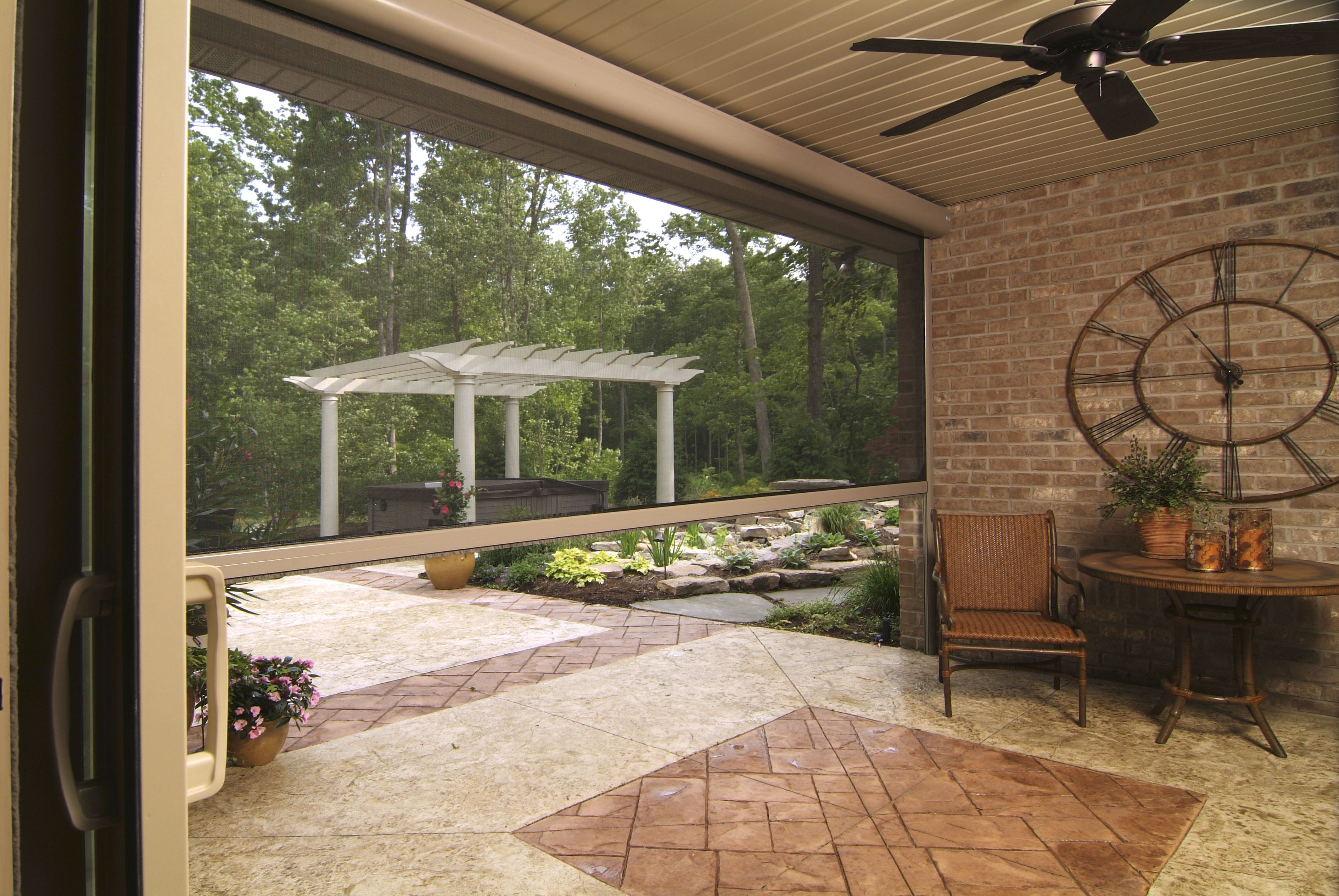 Panorama motorized retractable insect screen for backyard