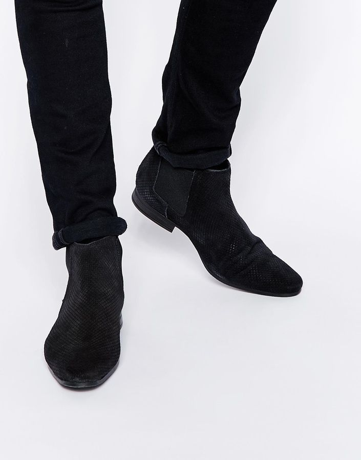 Chelsea Boots In Diamond Texture Suede