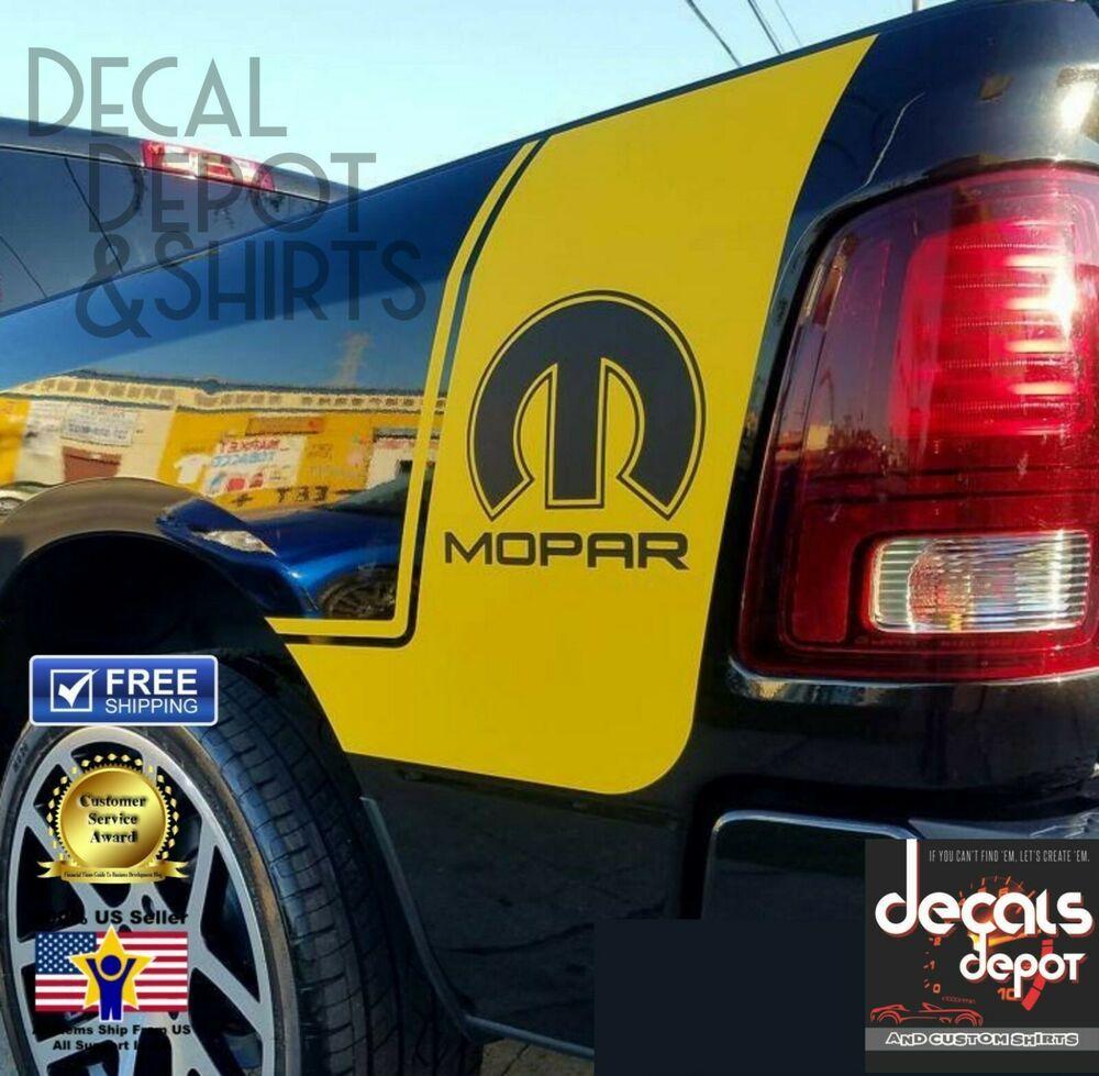 2 Truck vinyl decals racing stripes Dodge Ram rear bed skull Hemi Mopar Graphics