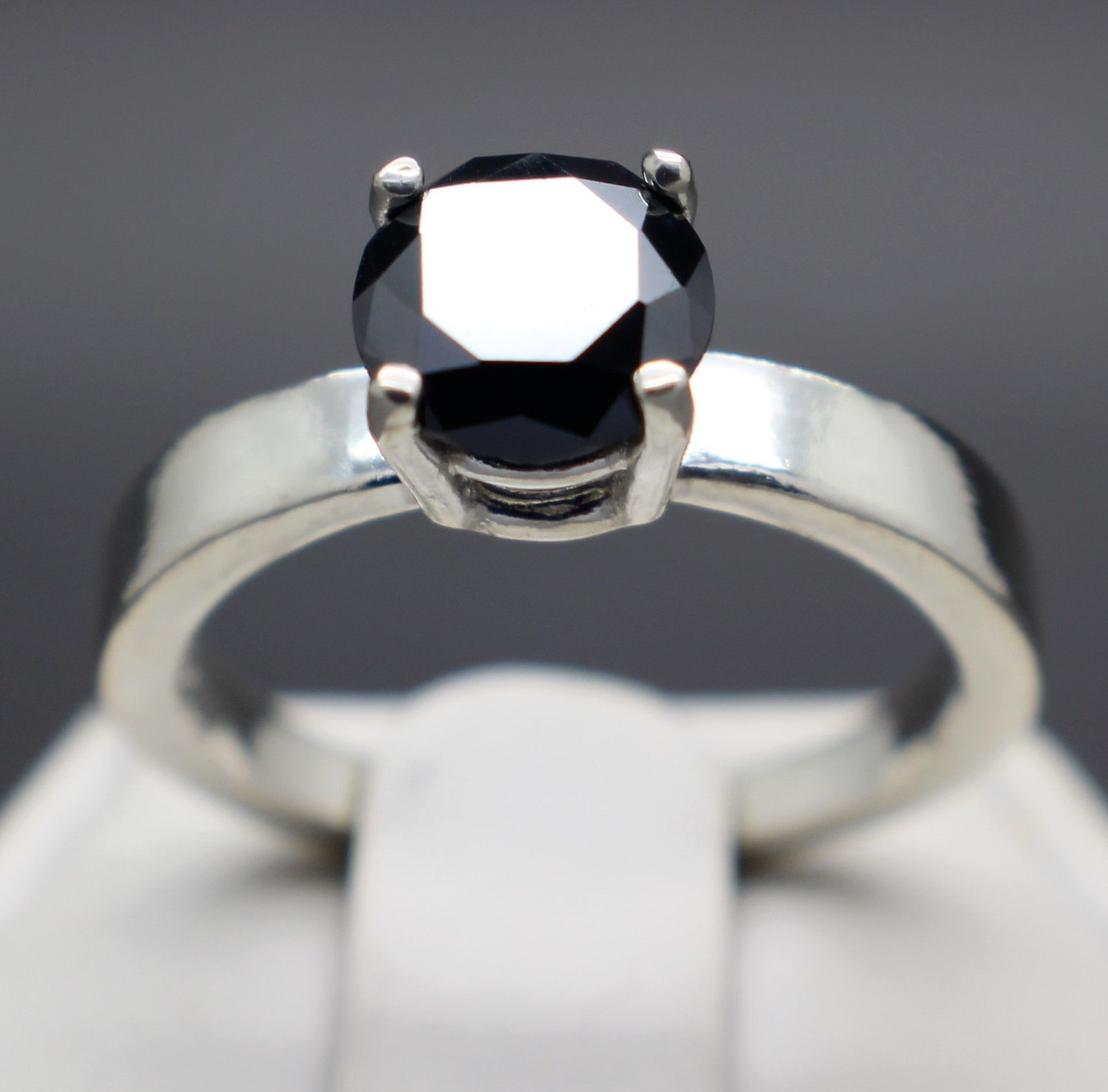 wedding ring 1 45cts 7 30mm Natural Black Diamond Ring Certified AAA Grade Value