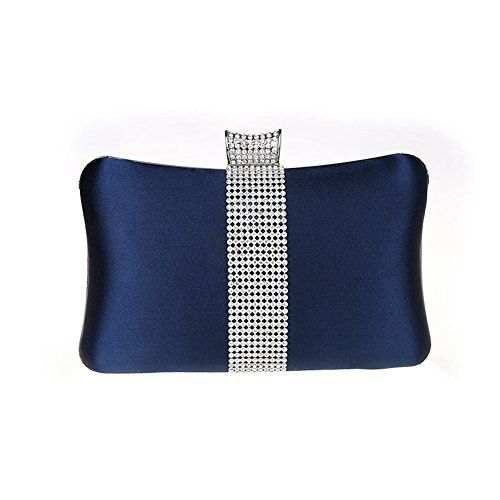 Navy Blue Satin Clutch Bag Diamante Wedding Prom Party Evening Ladies Handbag