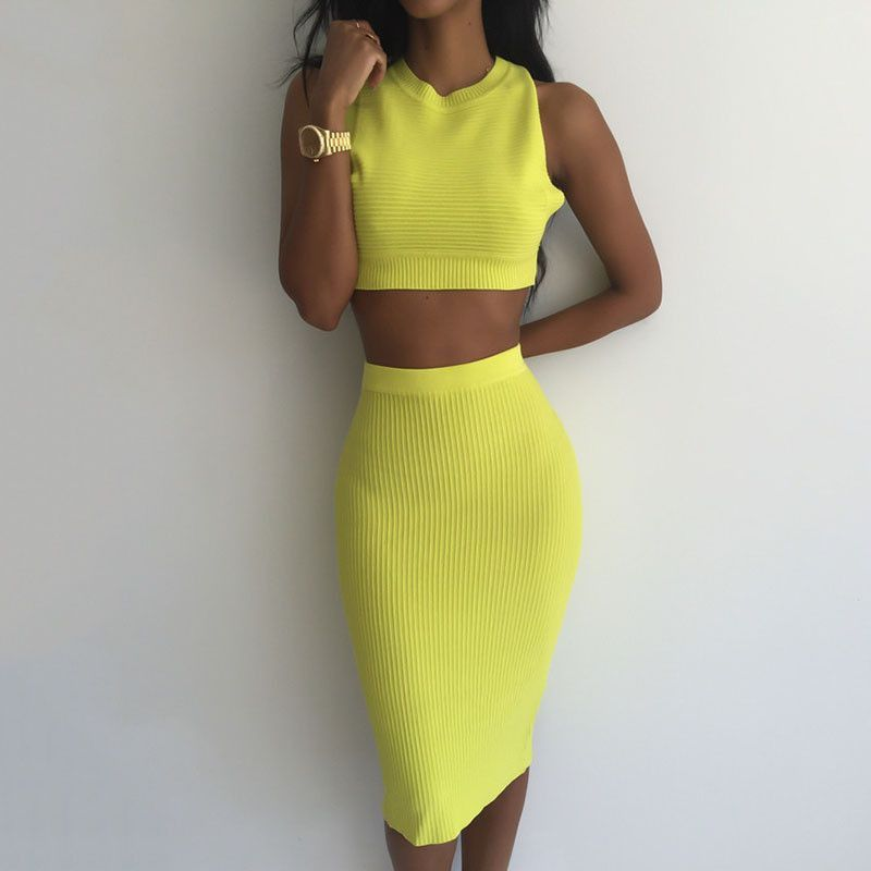 Summer 2 Piece Set Women Ribbed Stretchy Bodycon Dress Backless Midi Party Bandage Sexy Club Dress 2016