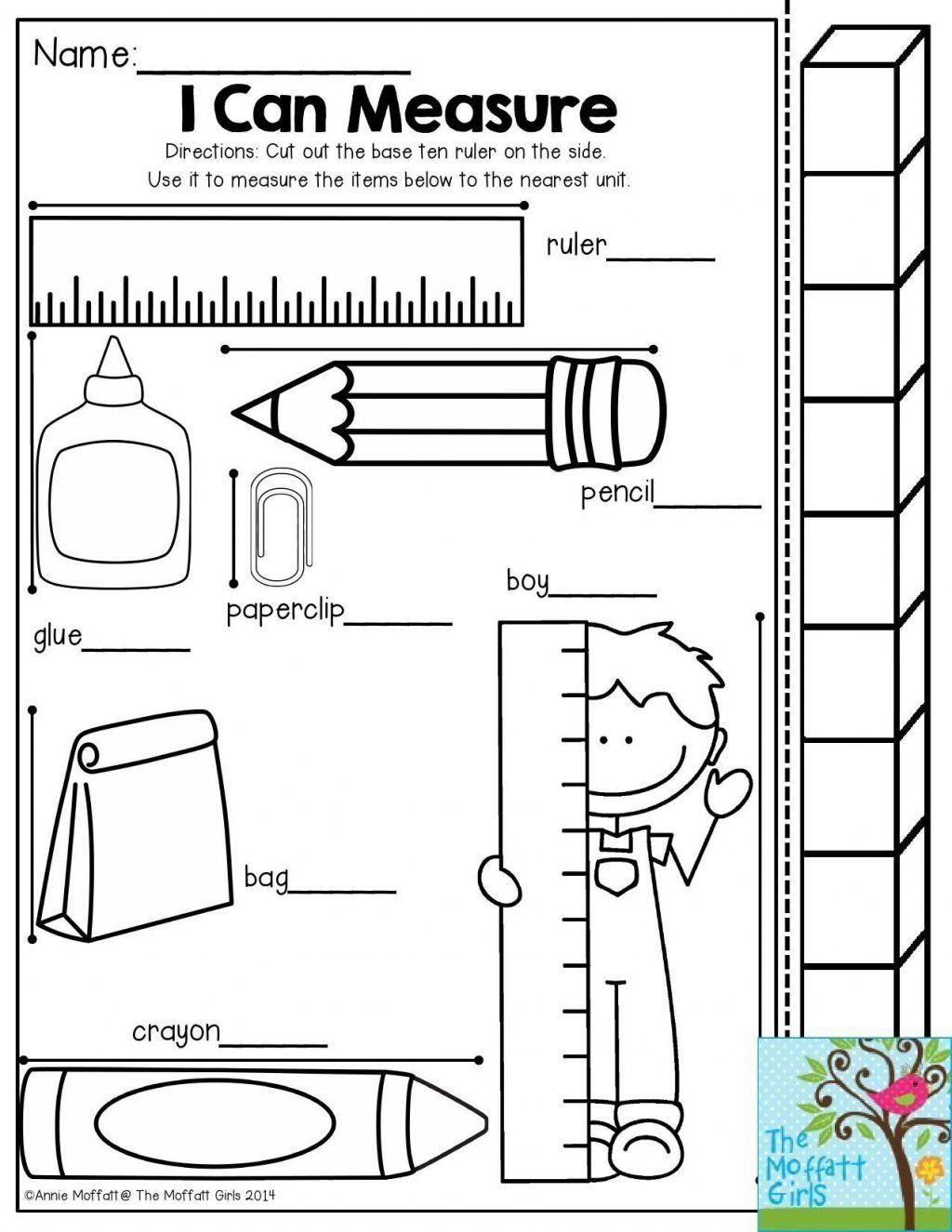 Measurement Worksheet For Kindergarten 1st Grade