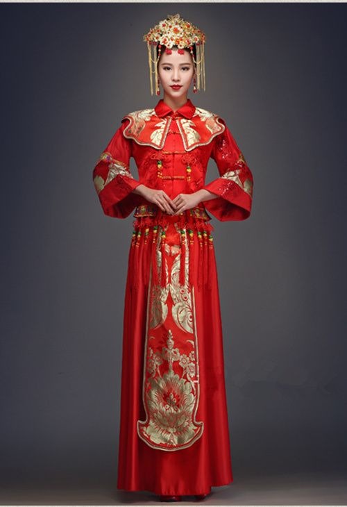 robe de mariage rouge longue chinoise pinteres. Black Bedroom Furniture Sets. Home Design Ideas