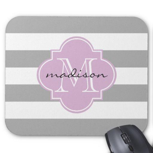 Gray and Purple Nautical Stripes Custom Monogram Mouse Pad