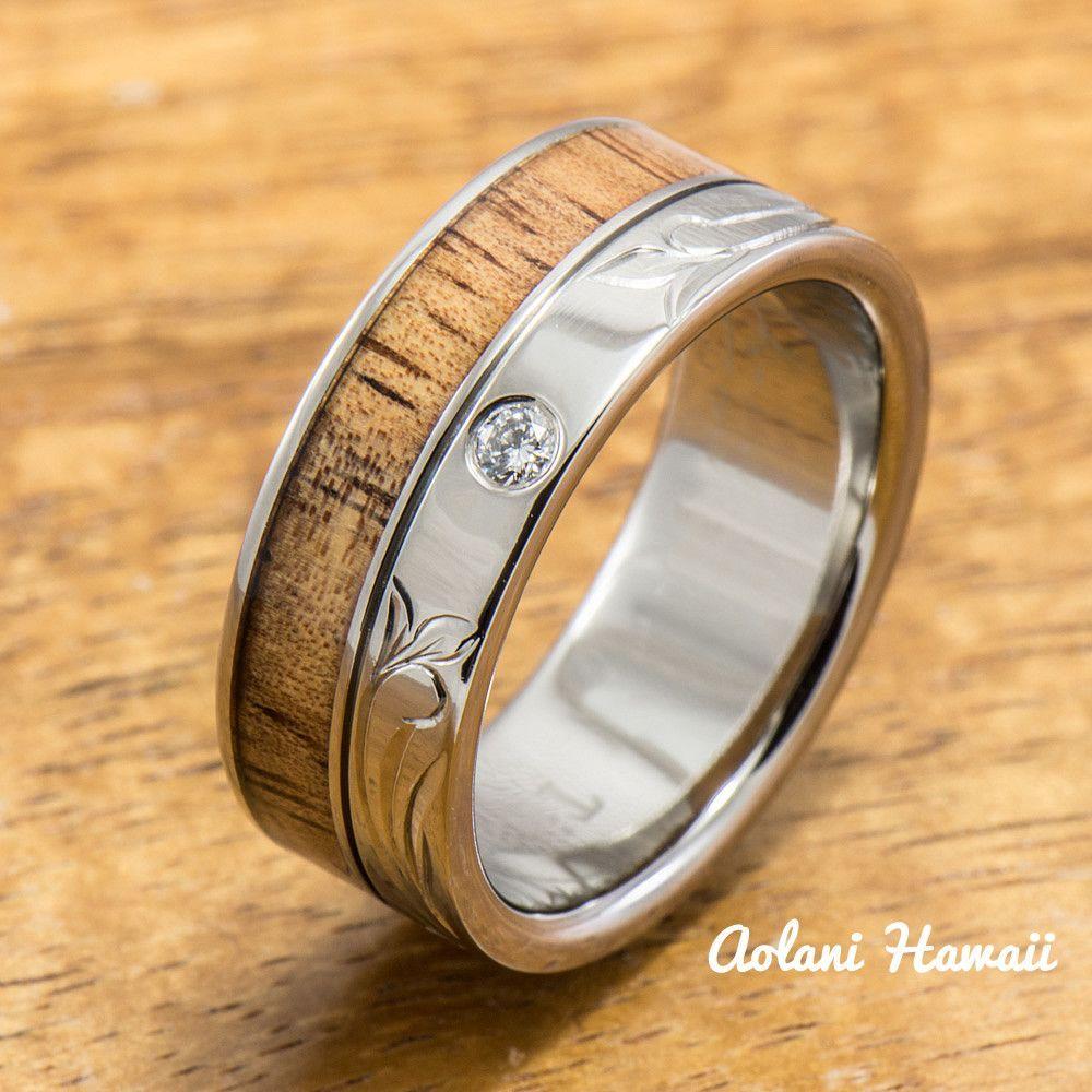Diamond titanium ring with hawaiian koa wood inlay mm width flat