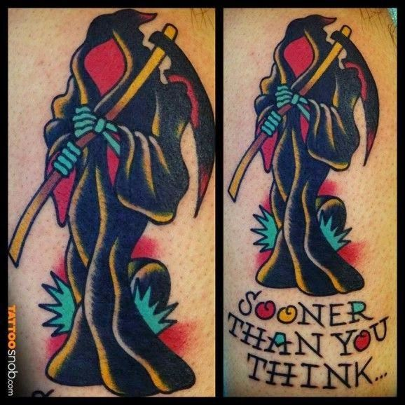 Life and Death Grim Reaper Tattoos