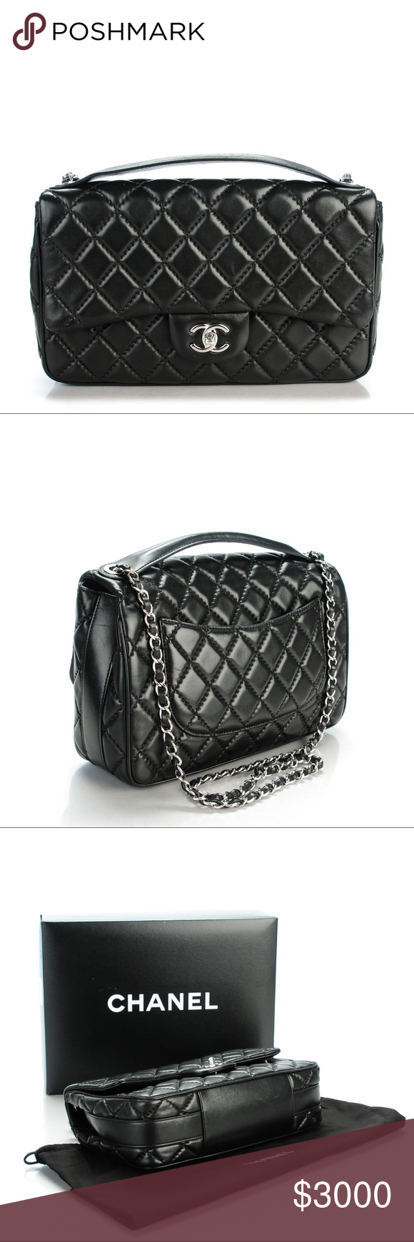 9f355bb843fb Chanel Lambskin Quilted Jumbo Easy Carry Flap Bag Authentic minor wear from  2015 Collection CHANEL Bags Shoulder Bags