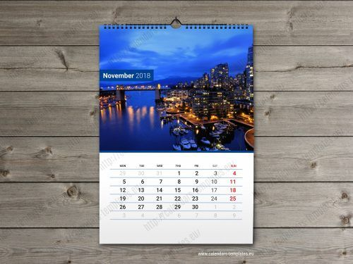 2018 Printable Calendar Template Wall Calendars Pinterest