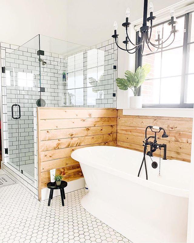 "Allison Gharst & Kellie Dooley on Instagram: ""Oooo buddy!! I looooove this bathroom by @athomewithkaraallen ! The combo of the farmhouse look with that wood ski lodge feel and the…"""