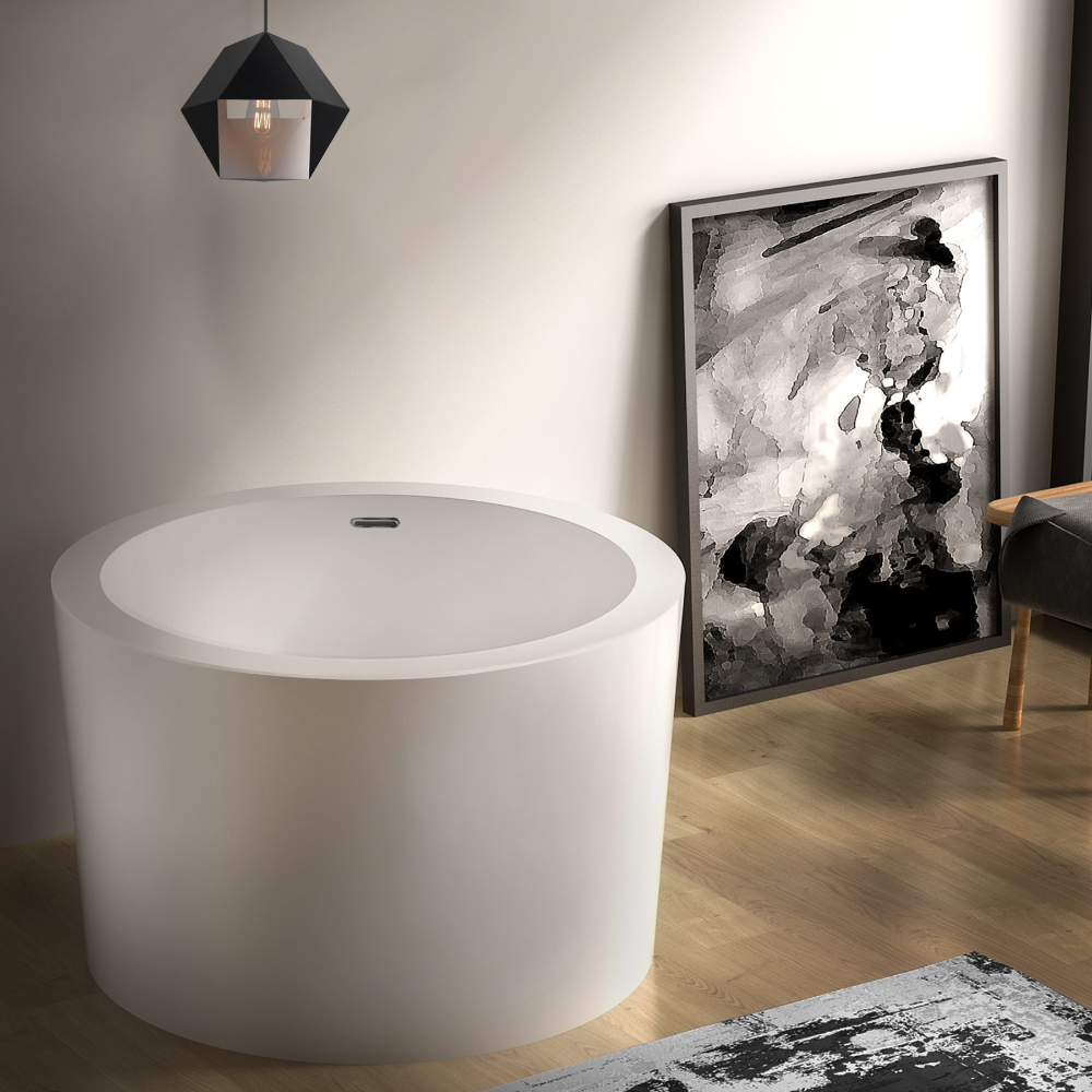 41 Hokona Round Acrylic Deep Japanese Soaking Bathtub with Overflow, White