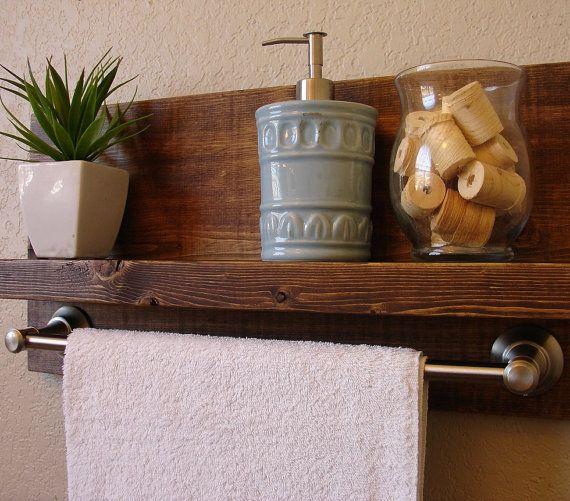Simply Modern Rustic Bathroom Shelf W Brushed By KeoDecor Home - Bathroom shelf with towel bar brushed nickel