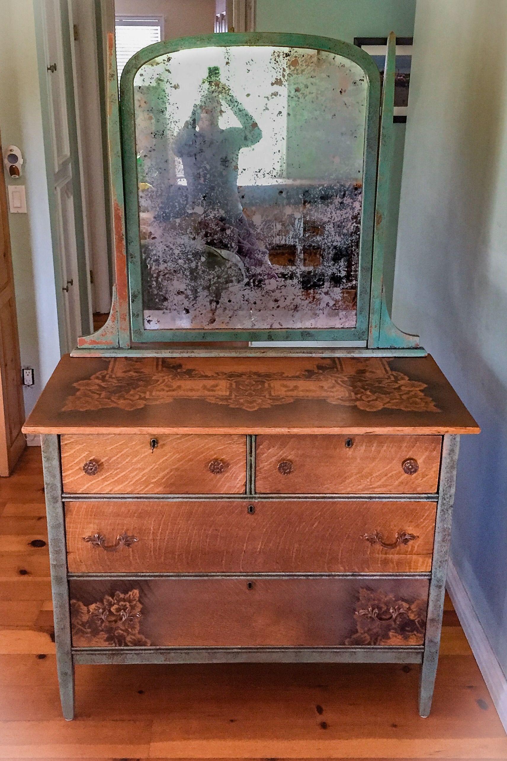 Farmhouse dressing table antique dresser with original