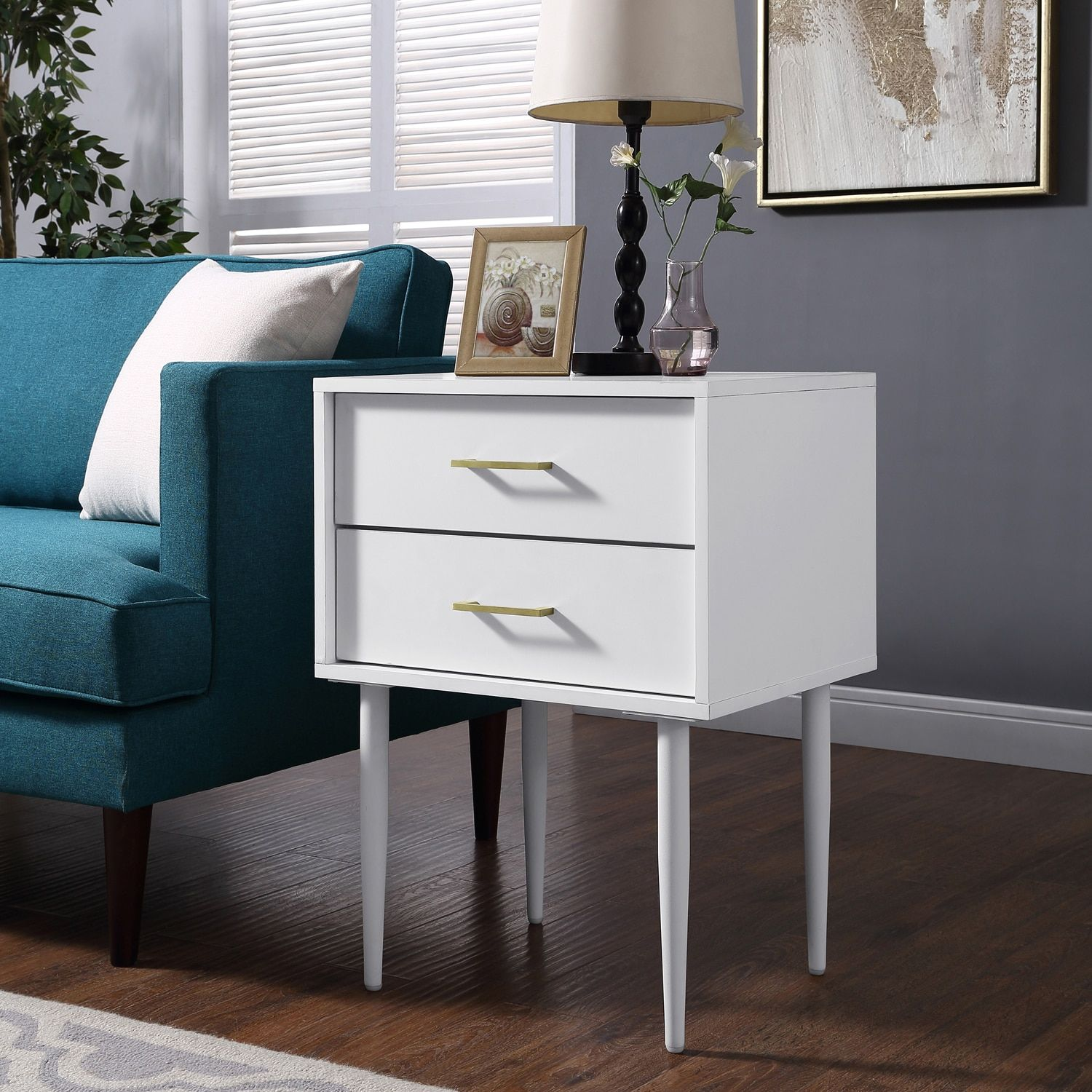 Best Olivia White Two Drawer Side Table With Images White 400 x 300