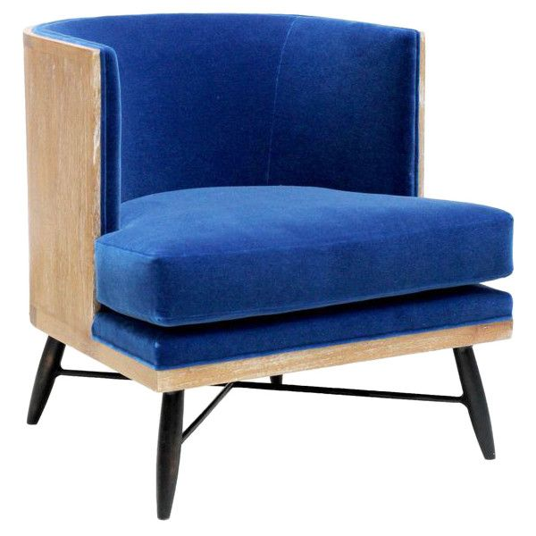 Wyatt Oly Royal Blue Velvet Lounge Chair ❤ Liked On Polyvore Featuring  Home, Furniture,