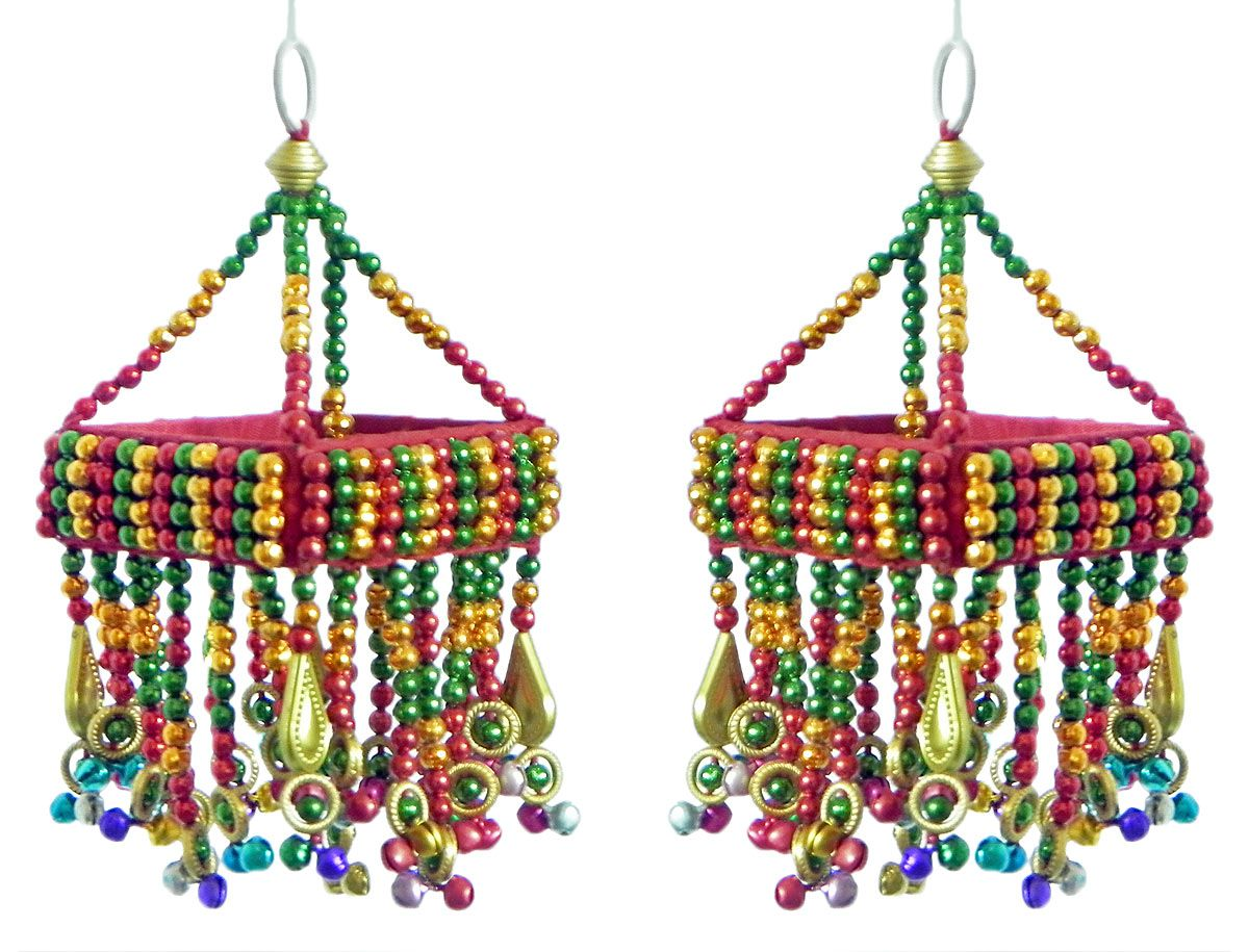 Pair of decorative wall hanging with bead work show piece pair of decorative wall hanging with bead work show piece mirror and bead amipublicfo Images