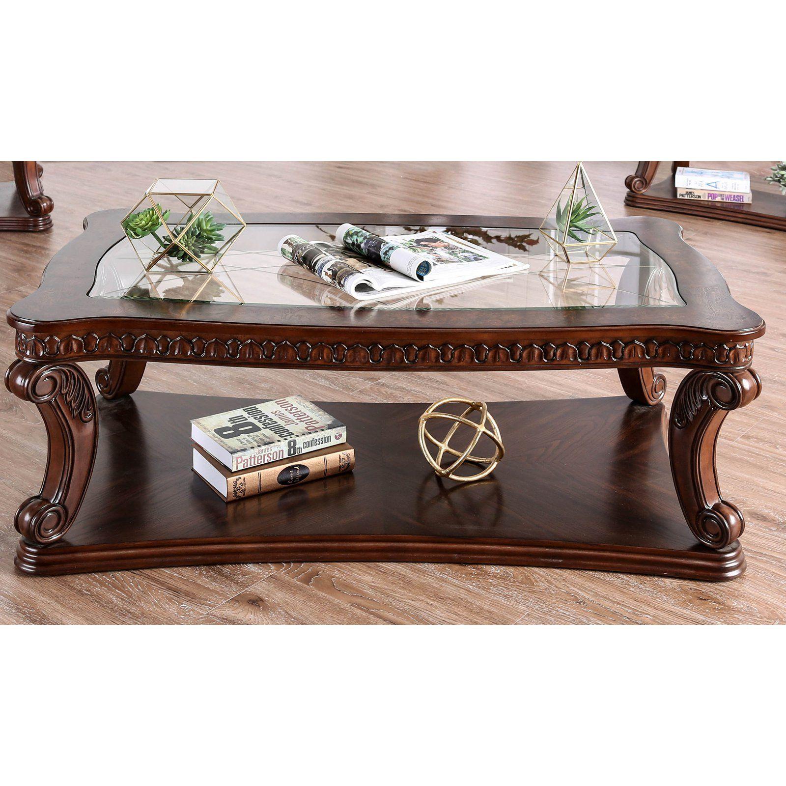 Furniture Of America Walton Traditional Glass Coffee Table 4 Piece Coffee Table Set 4 Piece Coffee Table Coffee Table Setting