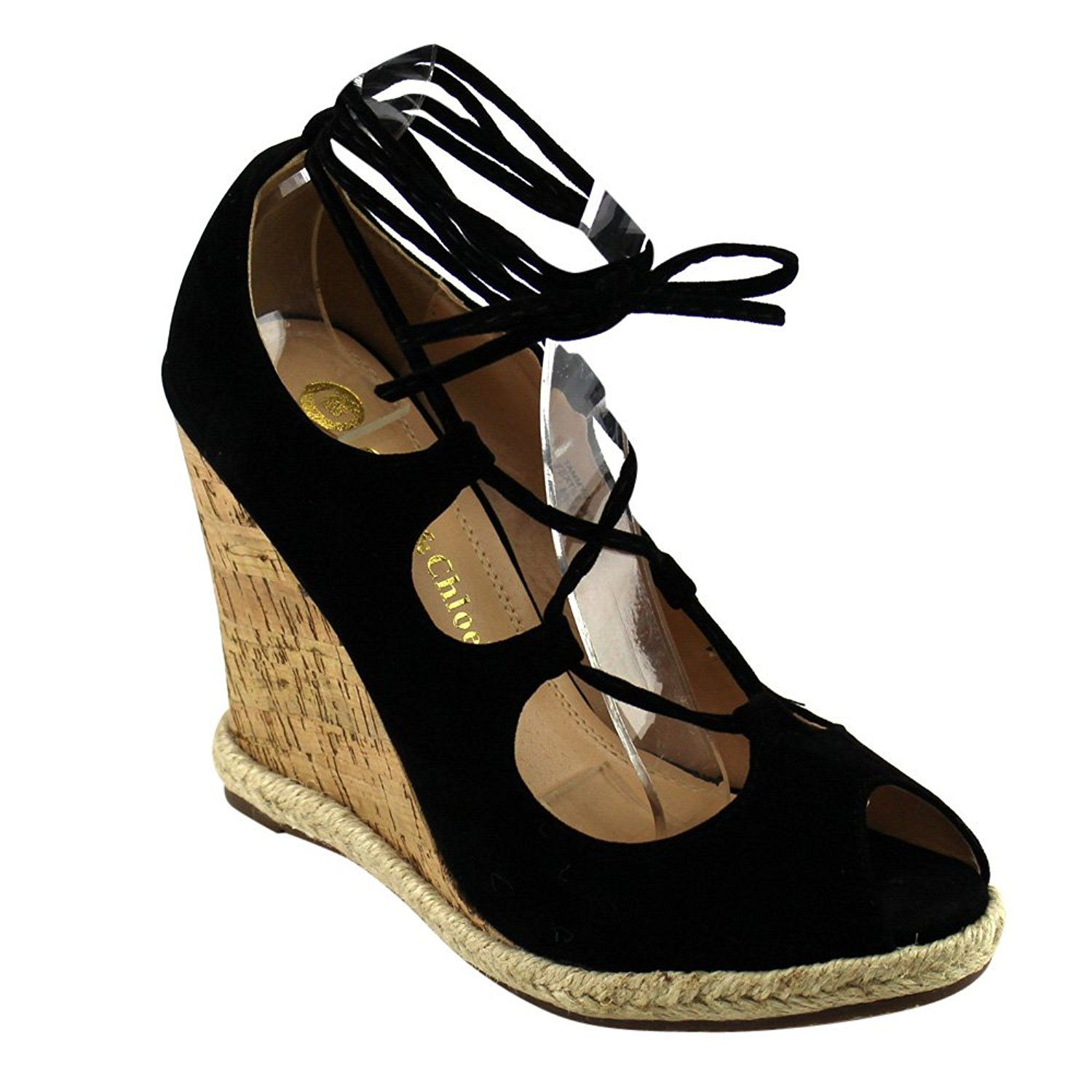 8aaf5a99196 Chase and Chloe CE40 Women's Peep Toe Espadrilles Lace Up Wedge Calf ...