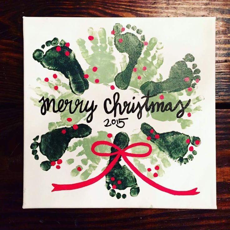 Photo of Christmas 2017 :: footprint handprint wreath # 2019giftideas #print #hand …