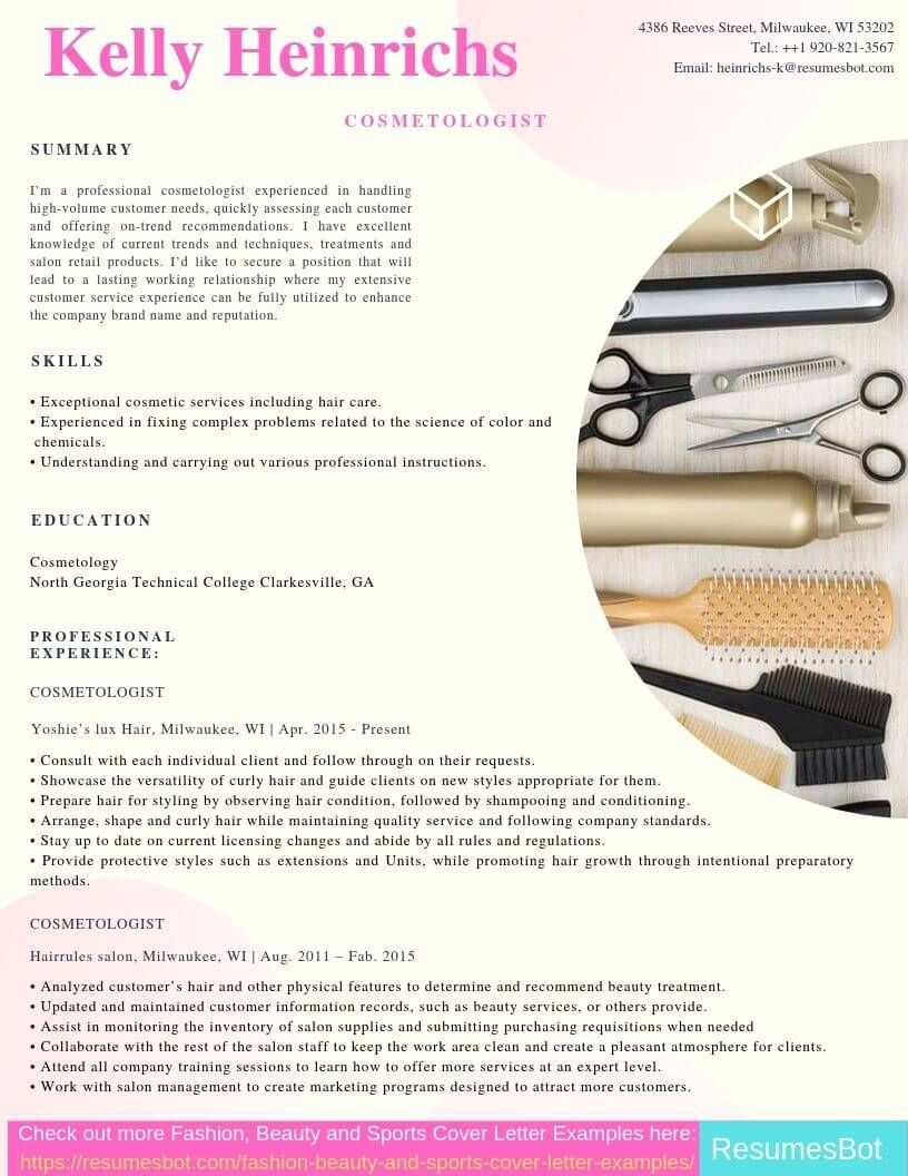Resume examples Cosmetologist Resume Samples & Templates