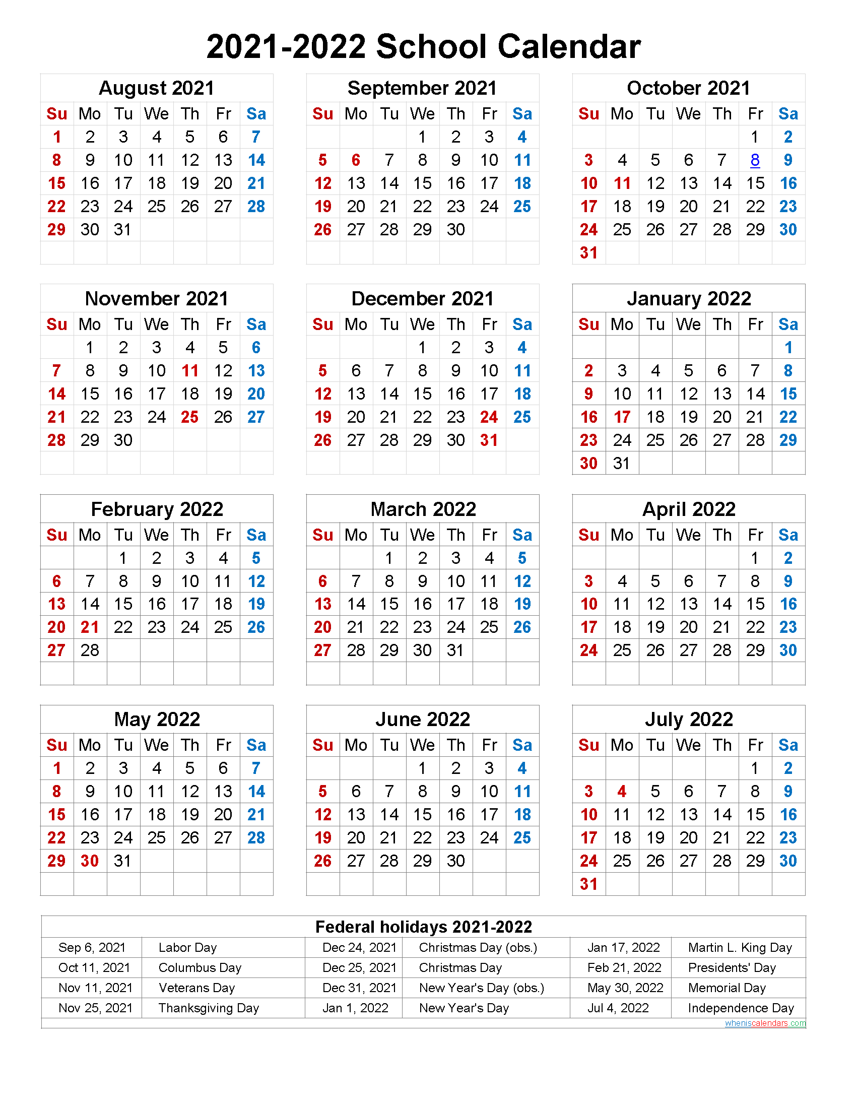 Calendrier Federale 2 2021 2022 School Calendar 2021 and 2022 Printable (Portrait)  Template No