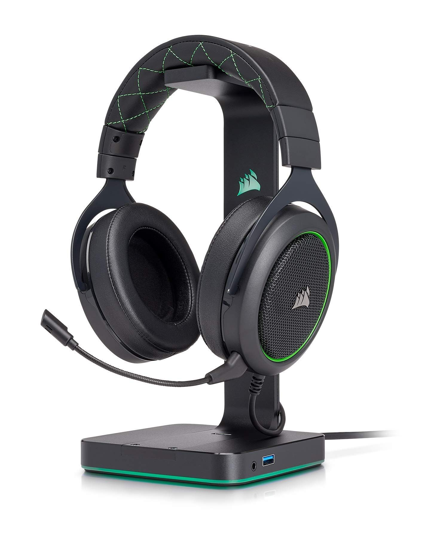 Corsair Hs50 Stereo Gaming Headset Discord Certified Headphones Designed To Work With Xbox One Green Gamin Headphones Design Gaming Headset Headphones