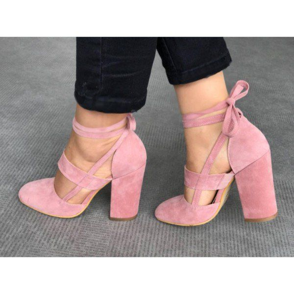 Pink Block Heel Sandals Suede Closed Toe Strappy Heels | Block heels,  Sandals and Beauty style