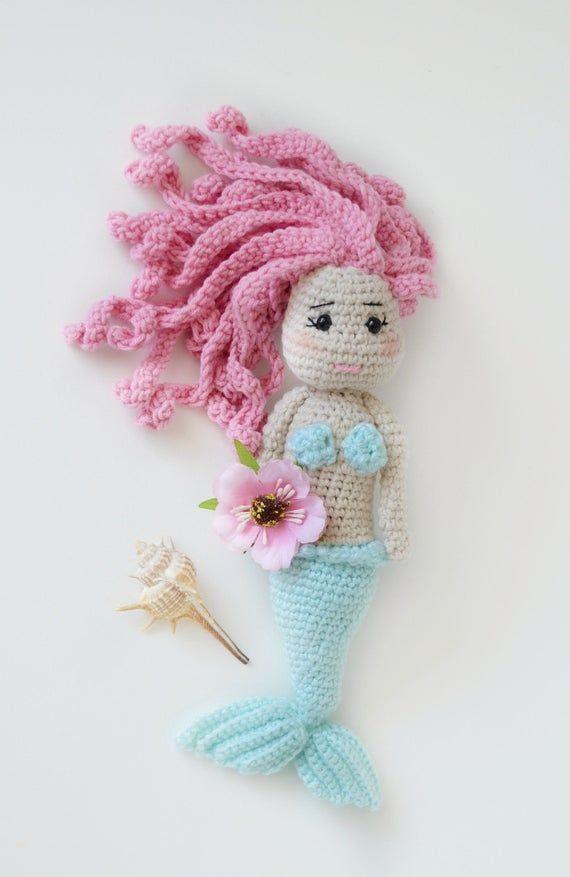 Curly hair little mermaid doll baby shower or birthday gift #dollcare