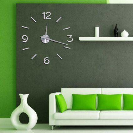 Amazoncom Soledi Modern DIY Large Number Wall Clock 3d Mirror