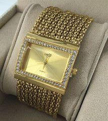 Women's Classic Alloy Band Bracelet Gold Diamond Watches