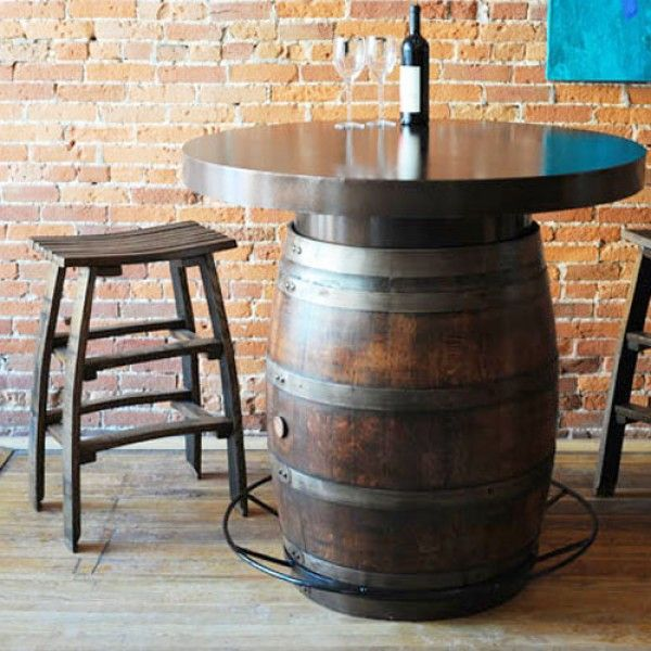 Wine Barrel Bistro Table By The Oak Barrel Company Is On SALE And Offered  With FREE Freight. The Oak Barrel Company Makes This Bistro Table With A  Metal ...