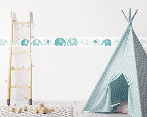 Lovely Label Bordure Selbstklebend 450 X 11 5 Cm Motiv Mit Elefanten Mint Grau Kinder Zimmer Kinderzimmer Schlafzimmer Madchen