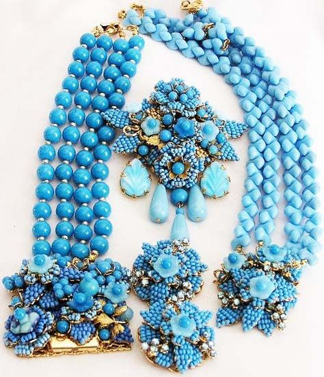 Stanley Hagler - Parure Collier, Bracelet, Broche et Boucles d'Oreilles - Perles de Verre Bleu - Ian St Gielar - Années 70