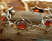 BALSA - srebrna bransoletka z bursztynami