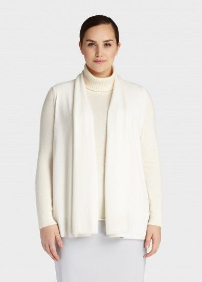 Plus-Size Cashmere Shawl Collar Vest with Silk Georgette