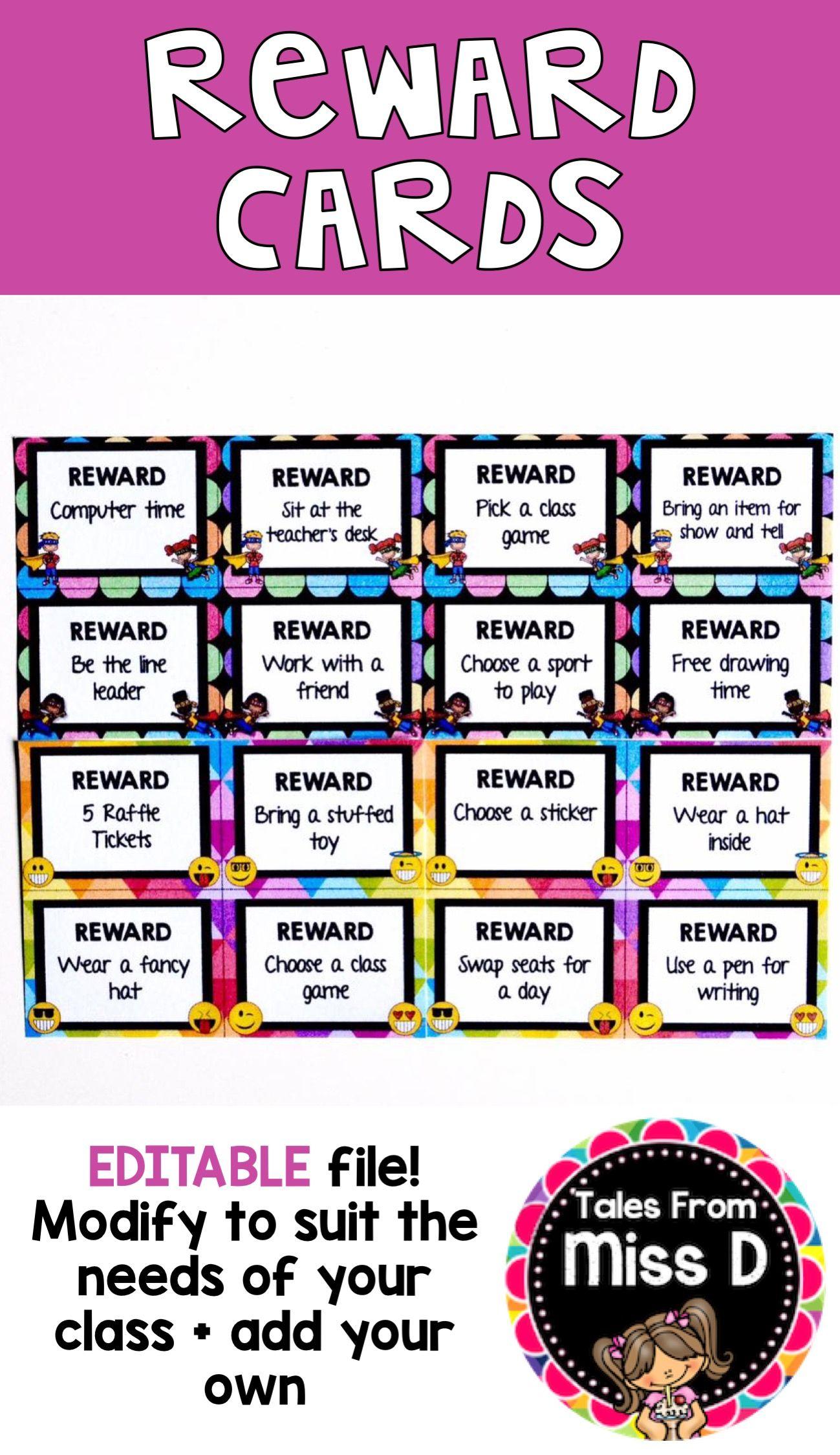 Reward Cards Editable Behavior rewards, Reward system