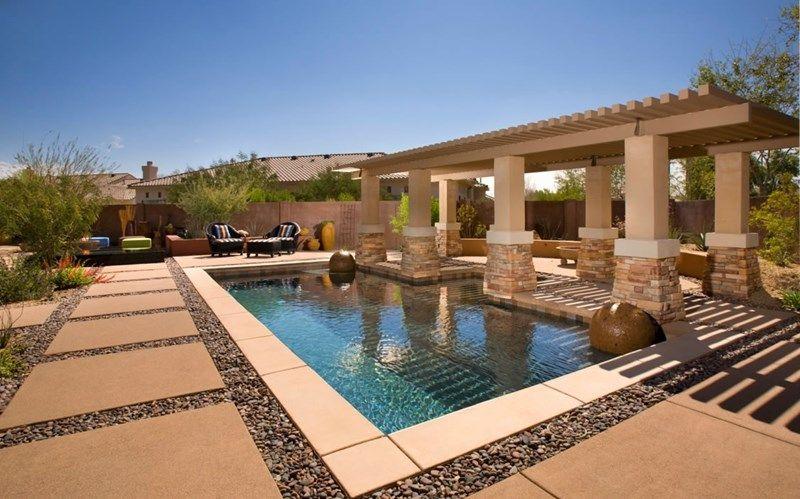 Poolside Pergola Swimming Pool Bianchi Design Scottsdale Az Peagravel Btwn Concrete Slabs Pool Shade Modern Landscaping Swimming Pool Landscaping