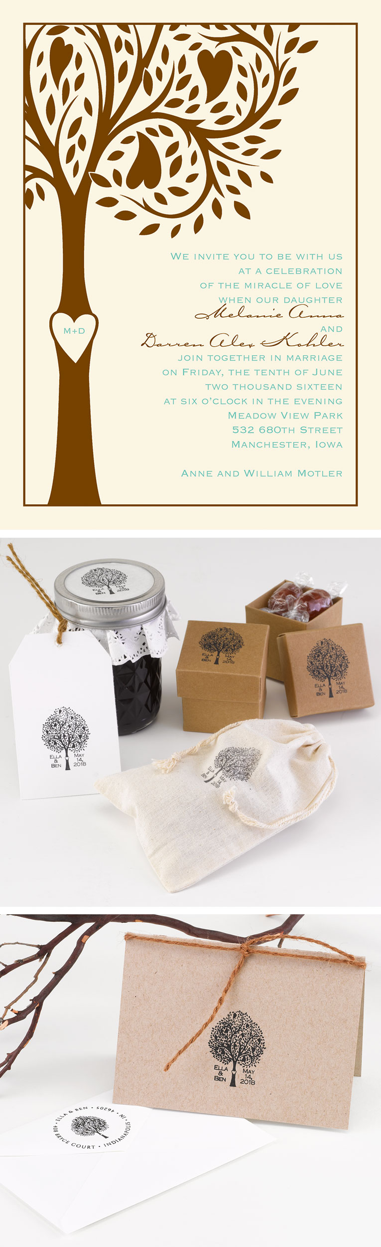 Custom Stamps to Match Your Wedding Invitations | Tree themed ...