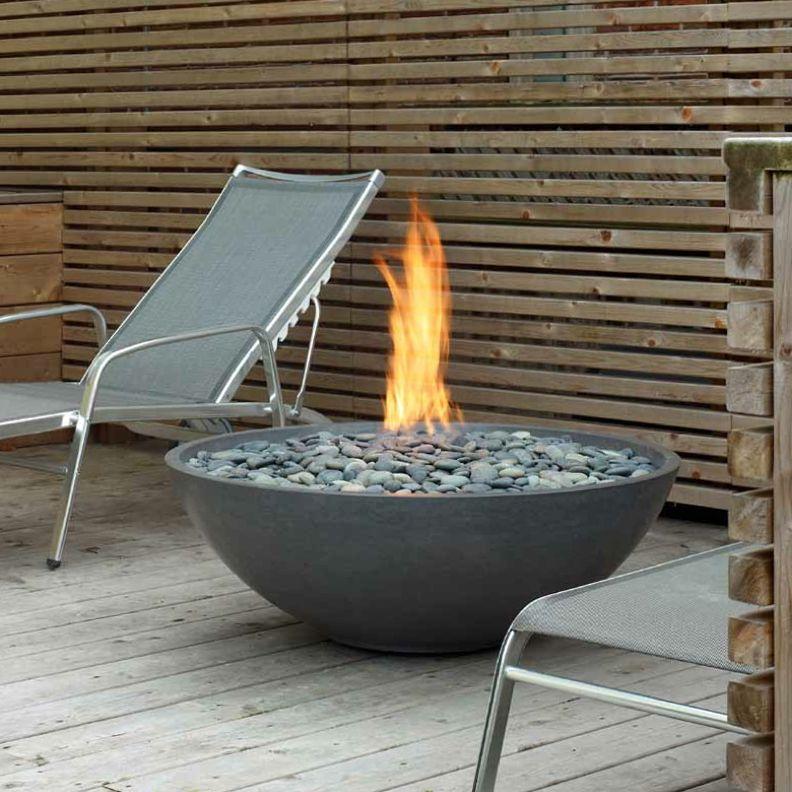 Modern Round Outdoor Gas Fire Pit, 36\