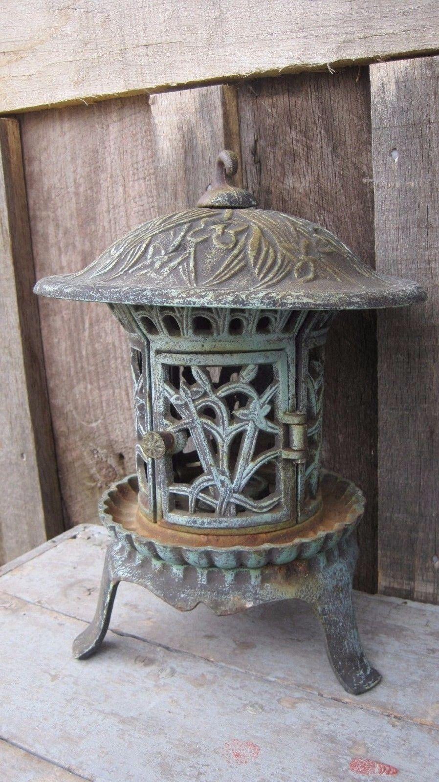 Heavy vintage cast iron pagoda home garden planter candle holder