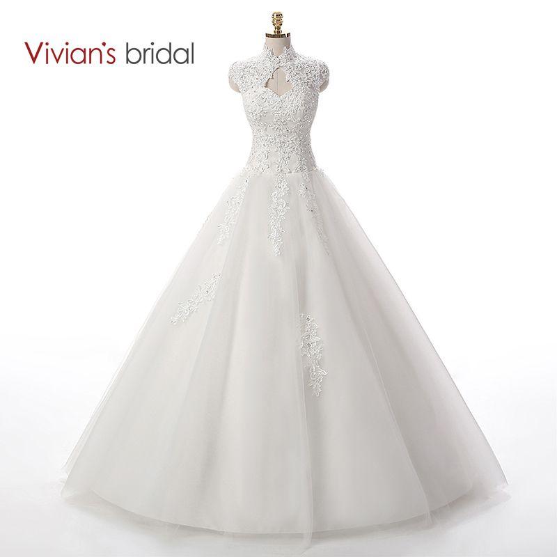Vivian der Braut Perlen Pailletten Eine Linie Spitze Hochzeitskleid ...