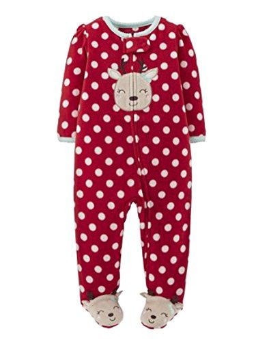 4aeaa18a9 Carters Infant Girls Plush Red Reindeer Sleeper Polka Dot Sleep Play ...