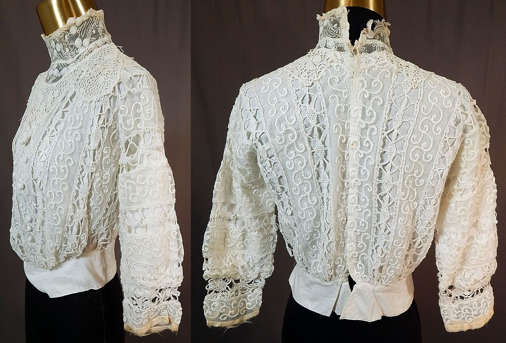 4310b47e1a2a7 Edwardian Embroidered White Net Mixed Crochet Lace Bodice BlouseThe top  measures 17 inches long