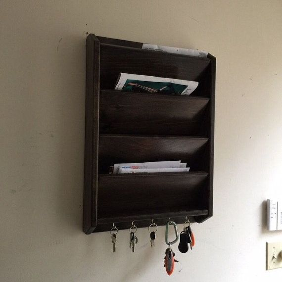 Pocket  Tall Mail Letter Organizer Handcrafted Wood Key Rack