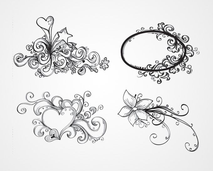 Sketches Of Stars And Hearts Drawn Vector Heart Heart Shape