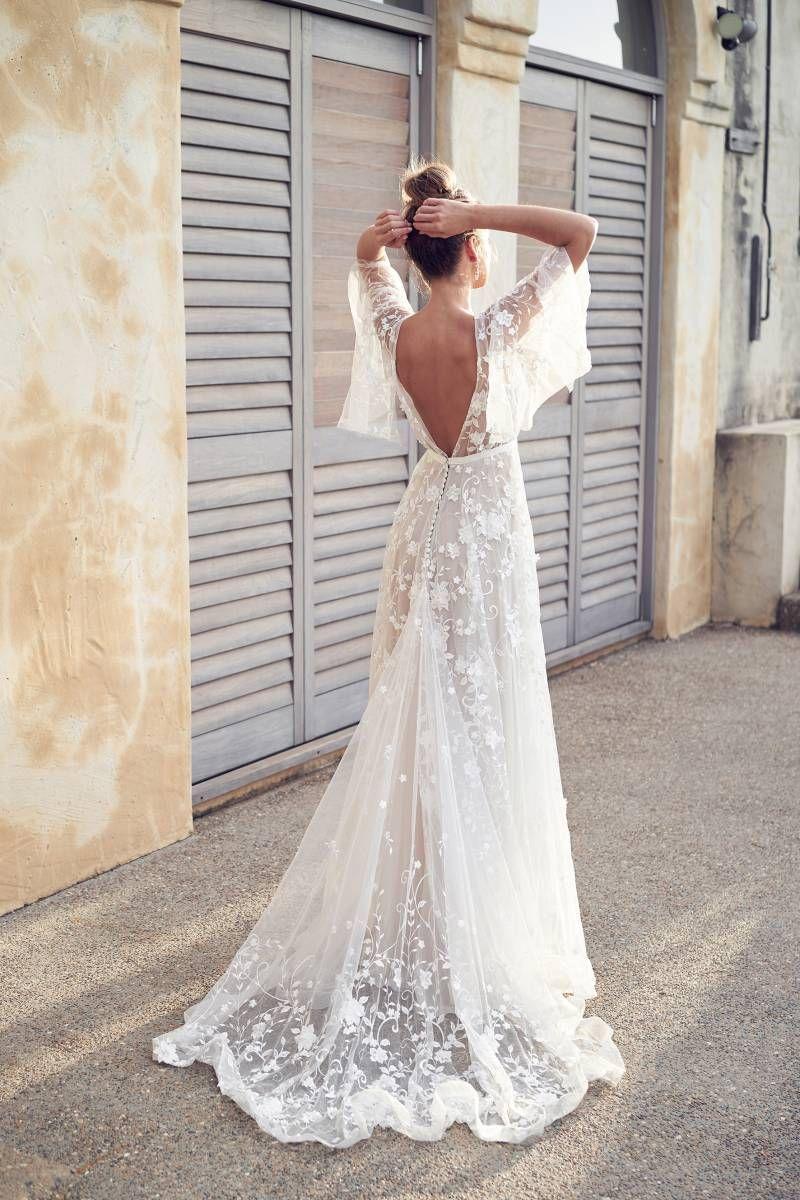 5 Boho Chic Beach Wedding Dress Designers Hawaii Wedding Gown Gallery Item 2 Wedding Dresses Applique Wedding Dress A Line Wedding Dress