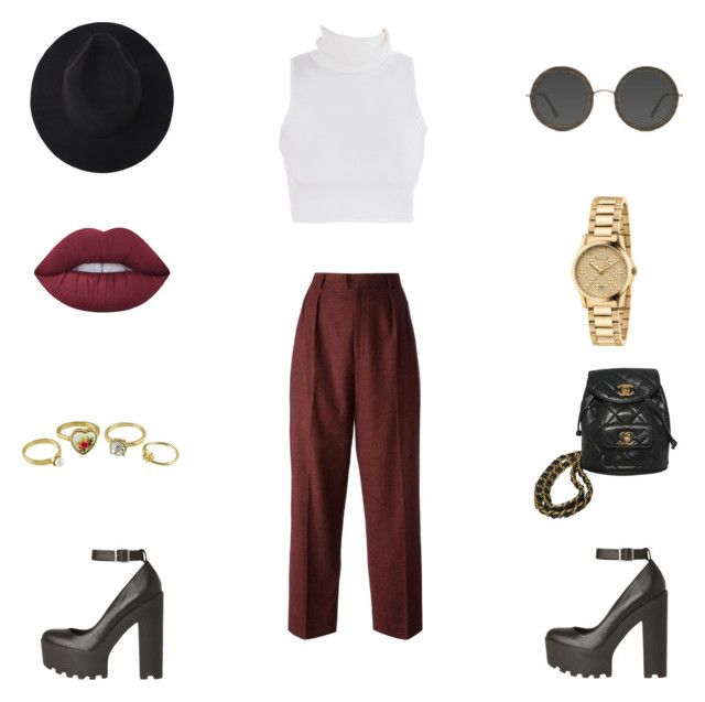 """Untitled"" by jeansfitright14 ❤ liked on Polyvore featuring Yves Saint Laurent, Lime Crime, Chanel and Gucci"